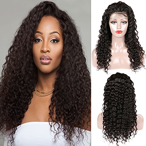 Miss GAGA 360 Lace Front Wigs 9A Deep Wave Virgin Human Hair Wigs for Black Women with Baby Hair 130% Density Pre Plucked Natural Color(20'' 130%, Natural Color)