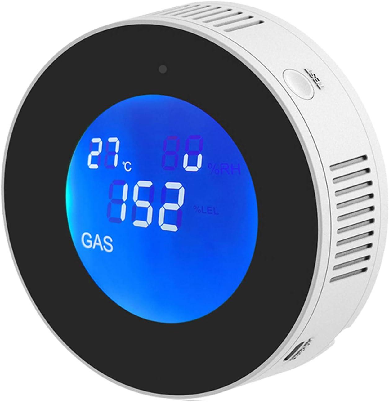 Natural Gas Detector & Propane Detector , Smart WiFi Gas Leak Detector for Home, Kitchen. Plug-in Gas Leak Sensor for LPG, LNG, Methane & Butane Gases, APP Control LCD Display Temperature Sensor.