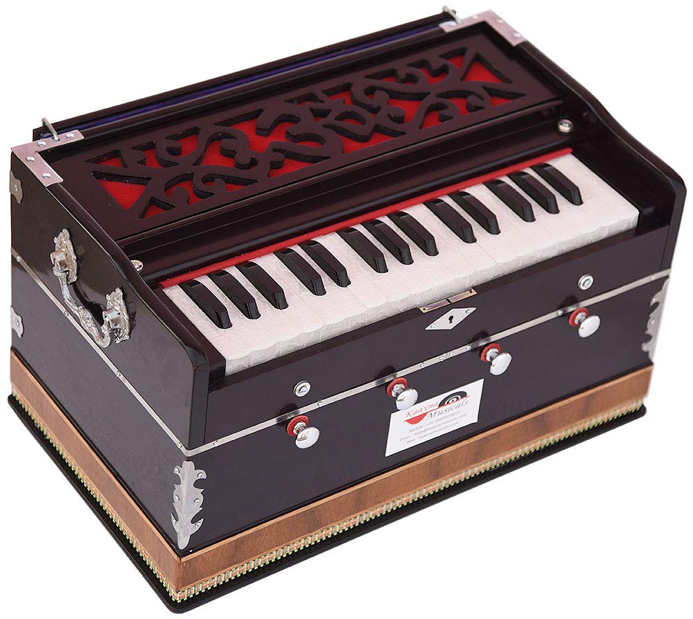 OM Harmonium Mini Magic By Kaayna Musicals, 4 Stop- 2 Main & 2 Drone, 2¾ Octave, Dark Cherry Colour, Gig Bag, Bass/Male- 440 Hz, Best for Yoga, Bhajan, Kirtan, Shruti, Mantra, Meditation, Chant, etc. by Kaayna Musicals (Image #3)