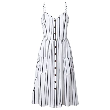 290c6e66e87da HIRIRI Women Button Down Dress Pockets Long Dresses Strappy V-Neck Striped  Skirt Loose Pullover
