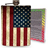 American Flag Flask 8oz Stainless Steel Silver Metal Hip Flasks for Drinking Whiskey Alcohol Liquor Vintage USA Flags America American Holidays