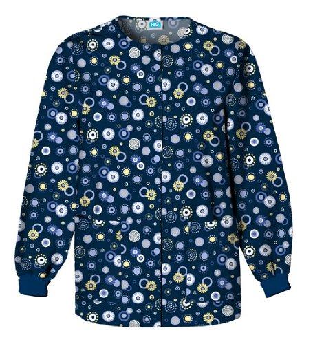 Scrub H.Q. by Cherokee Women's Crew Neck Dot Print Jacket Xx-Large - Warm Ck Jacket Up