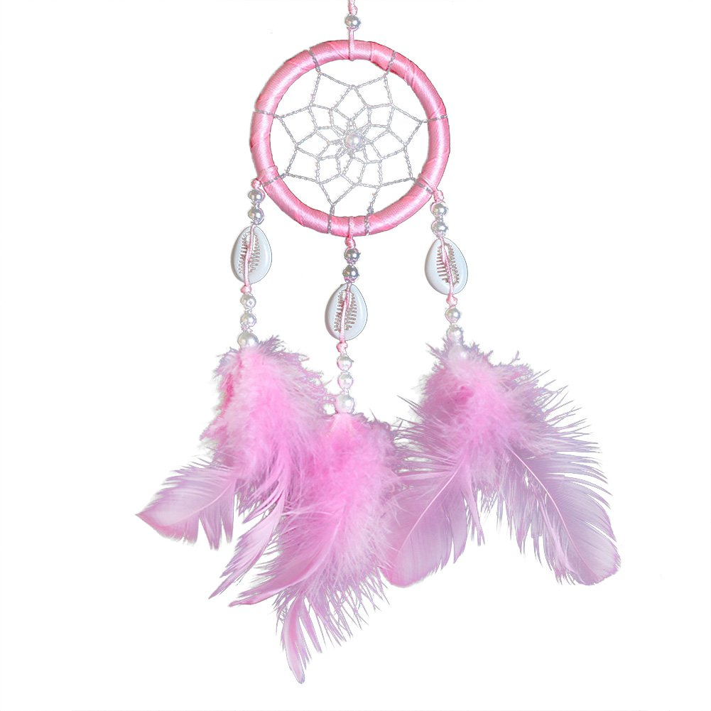 Demiawaking Handmade Mini Hoop Dream Catcher Wall Hanging with Feathers and Beads Car Wall Hanging Accessories Ornaments Decor Crafts (Blue)