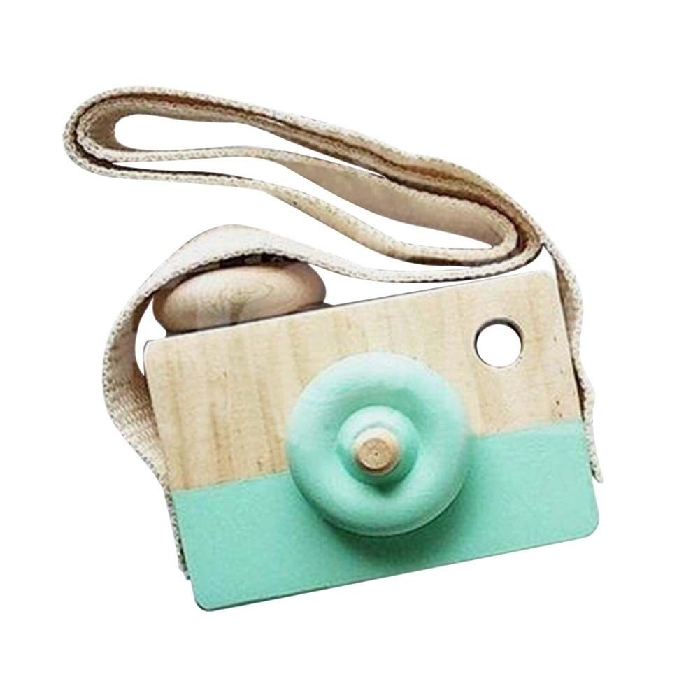 Wooden Mini Camera Toy Pillow Kids' Room Hanging Decor Portable Toy Gift Green Color Liangxiang