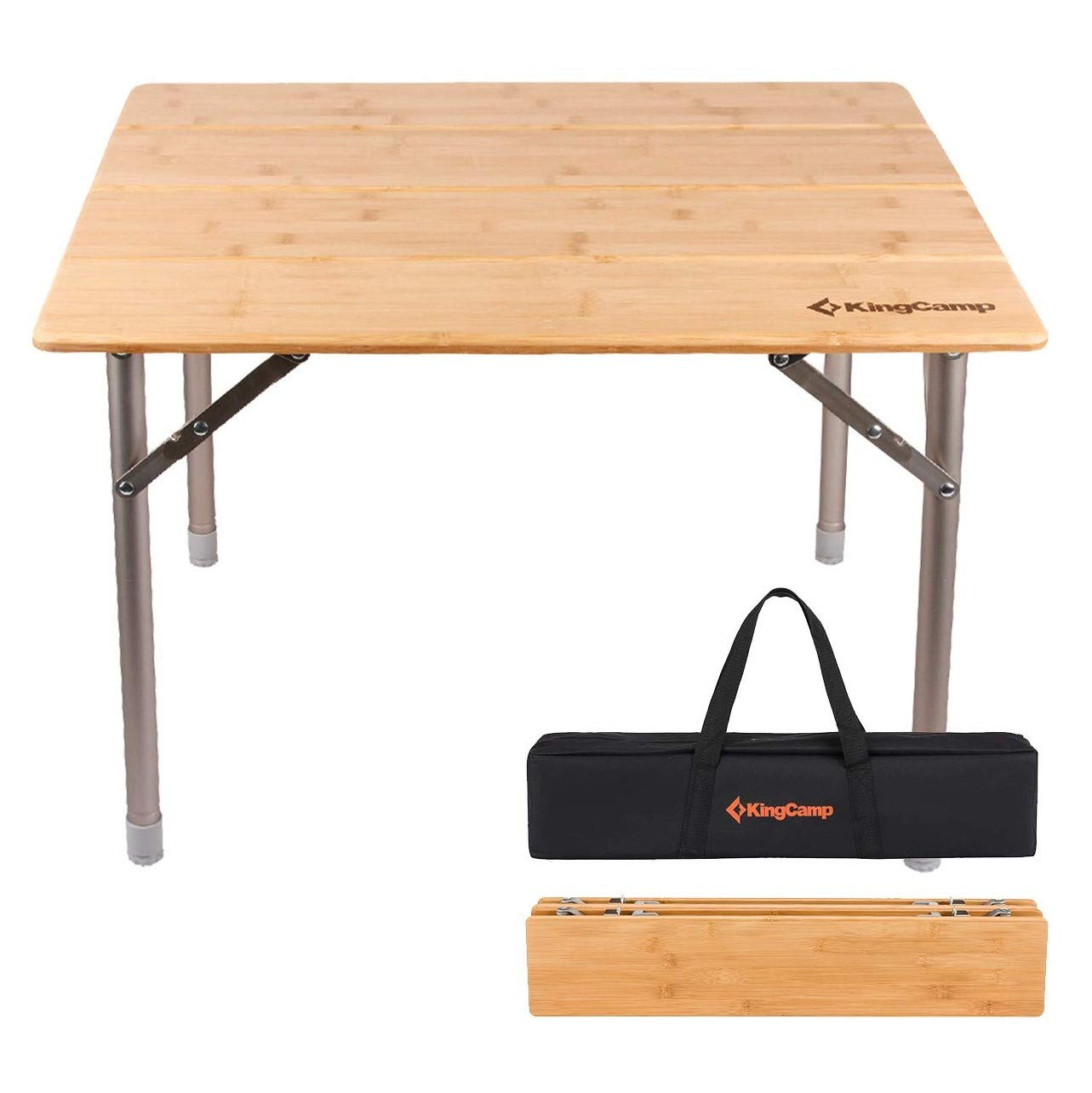 KingCamp Bamboo Folding Table with Carry Bag 4 Fold Heavy Duty Adjustable Height Aluminum Frame Camping Table (Small, Desktop 25.6 x 19.7 inch) by KingCamp