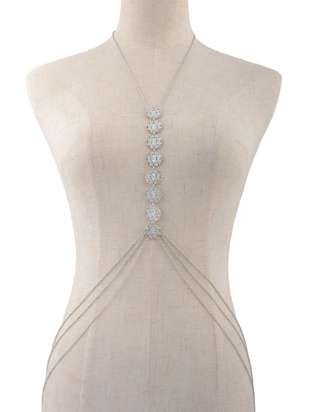 JeVenisSexy HarnessBikiniBralette BodyChainsCrossover Harness Waist Belly Body Chain Necklace (Silver) by JeVenis (Image #6)
