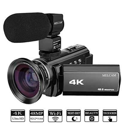 Video Camera 4K Camcorder Ultra HD 48 0MP 60FPS 3 0 inch 270 Degree Touch  Screen, YouTube Vlogging Camera External Microphone and Wide Angle Lens,