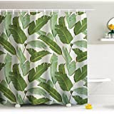 Jasper Palm Tree Leaves Shower Curtain, DENGYUE Dark Green Palegreen Mixed Banana Leaves Neat Anti- Bacterial Polyester Bath Curtain with C-type Hooks