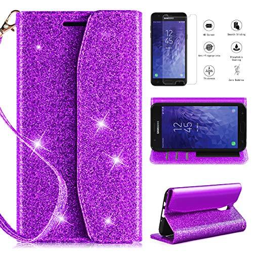Samsung Galaxy J7 Refine/Galaxy J7 2018 /J7V J7 V 2nd Gen/J7 Star/J7 Top/J7 Crown Wallet Case w/Screen Protector,CaseRoo [Kickstand] [Card Slots] [Wrist Strap] Glitter Cover w/Cosmetic Mirror-Purple