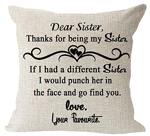 Throw Pillow Sister (Sister Gift Thanks For Be My Sister Quote Cotton Linen Square Throw Waist Pillow Case Decorative Cushion Cover Pillowcase Sofa 18