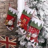 Sunne Personalized Christmas Decoratioin Stocking 3Pcs Set 18 inch 3D Applique Style Felt Christmas Stockings,Santa,Snowmen,Reindeer