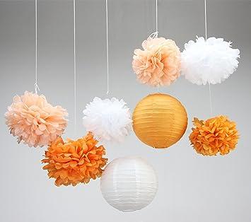 Wunderbar SUNBEAUTY Orange Papier Deko Set 8er Set Peach Pom Poms Lampion Dekoration  Von