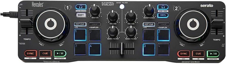 Hercules DJControl Starlight - Controlador de DJ USB portátil 2 ...