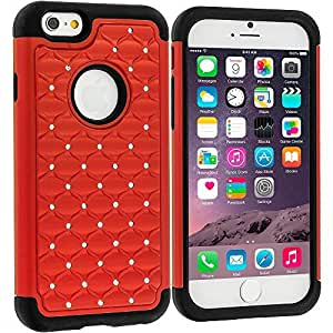 Accessory Planet(TM) Red Hard Deluxe Hybrid Diamond Bling Case Cover for Apple iPhone 6 (4.7)