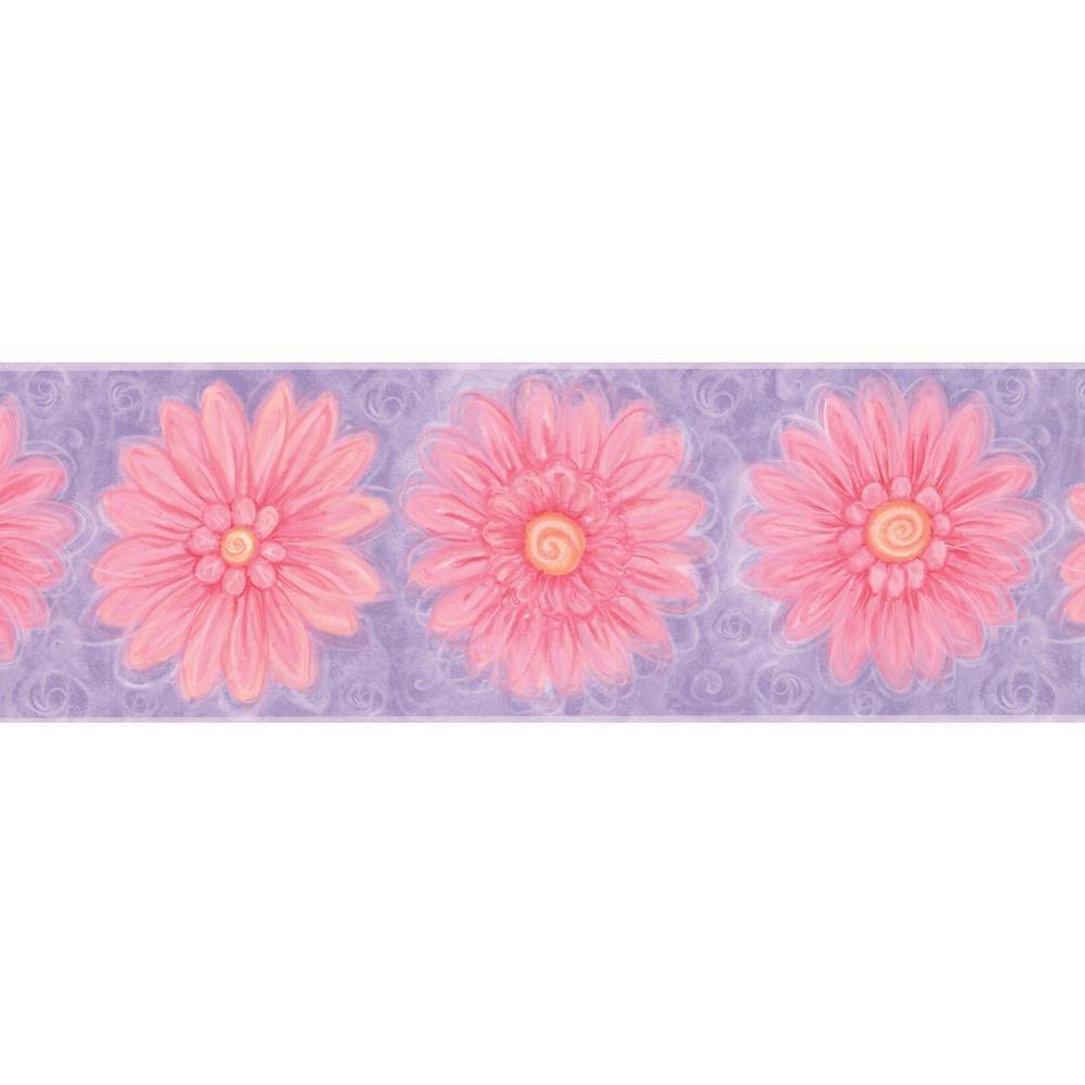 York Wallcoverings KZ4382BSMP York Kids IV Flower Power 8-Inch x 10-Inch Memo Sample Wallpaper-Borders, Purple/Pink