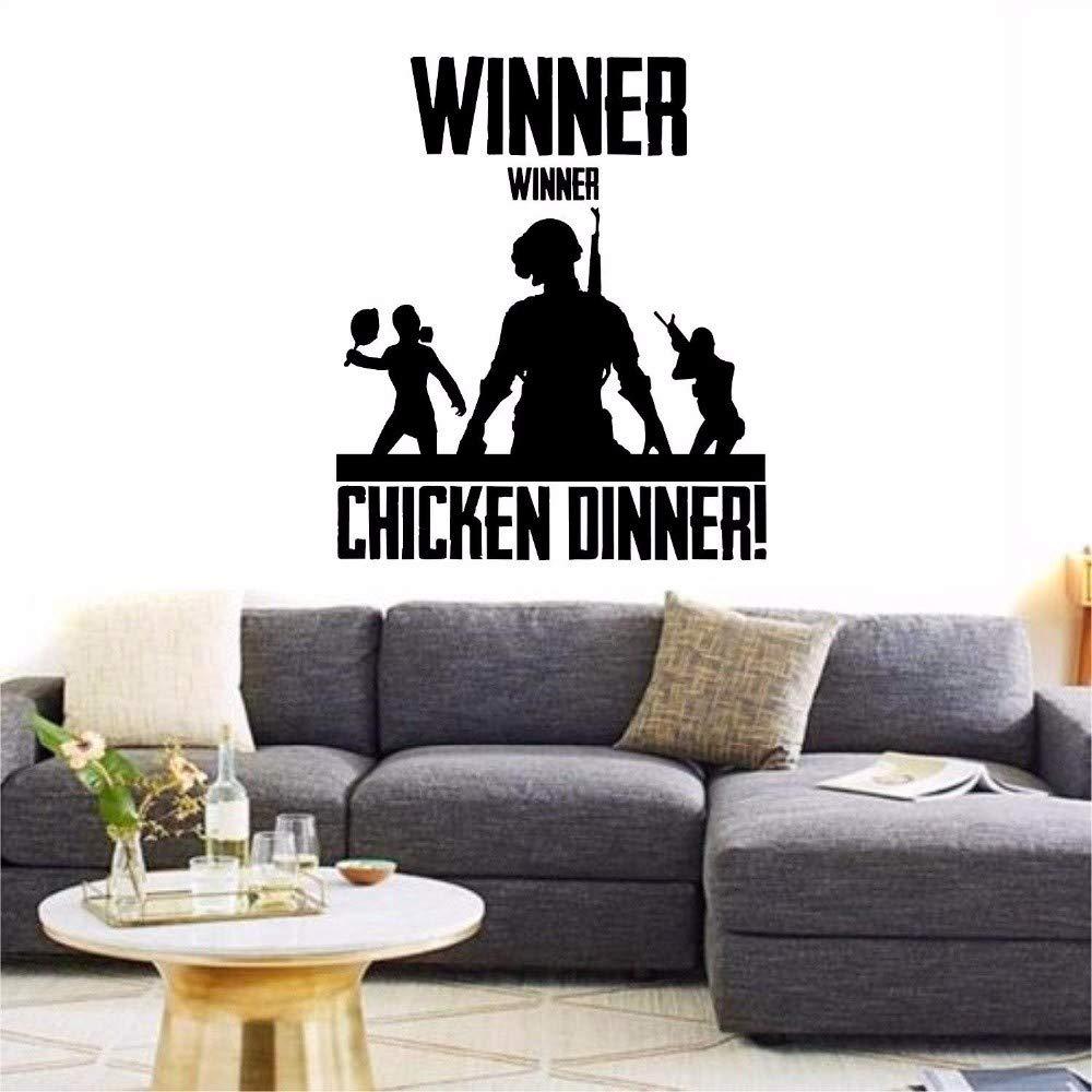 Yxjj1 Winner Winner Chicken Dinner,Wall Sticker Xbox Ps4 Pc Vinyl Decal Game Art Home Decor Quote Boy Room Decals (68 X 58 cm)