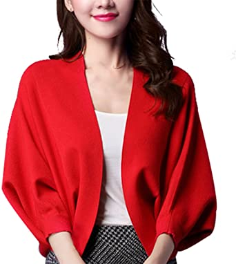SellerFun Women Elegant Spring Fall Sweater Knitted Batwing Pure Color  Cardigan(Red 2494284c1