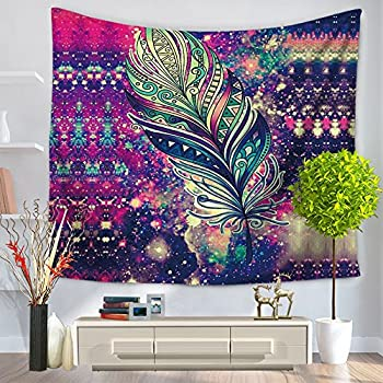 Alicemall Bohemian Tapestry Beautiful Colorful Feather Print Tapestry  Hanging Boho Tapestries Beach Throw Tapestries Dorm Room Part 69