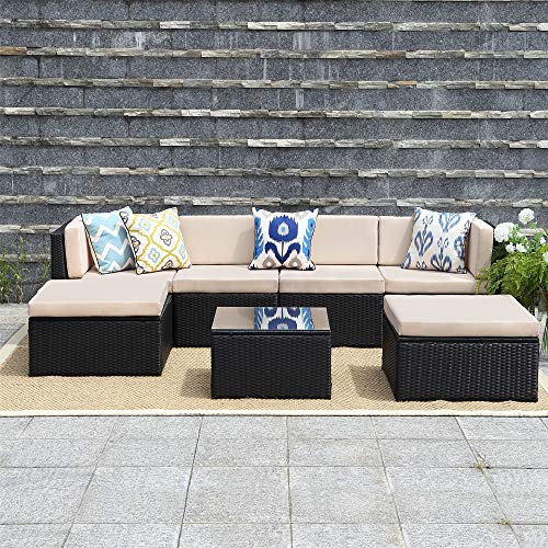 (Wisteria Lane 7 Pcs Outdoor Furniture Sets,Patio Sectional Sofa Couch Conversation Sets Garden Rattan Chair Glass Table with Ottoman Black Wicker, Beige Cushion)
