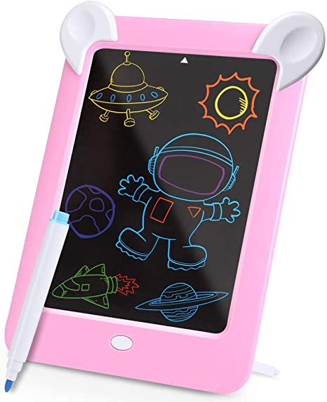 Writing Board Great Gift Portable Board Writing Board Doodle LCD Writing Tablet 3 Pcs Childrens LCD Tablet Drawing Board Color : Pink, Size : 10.5 inches Electronic Graffiti Board