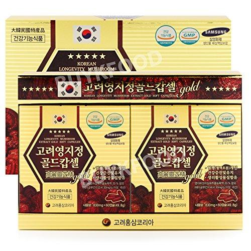 Korean Reishi Mushroom Extract Gold Capsules 830mg X 120Tablets 3.5oz , Red Ganoderma Mushroom Longvity Reishi Mushroom Tablets