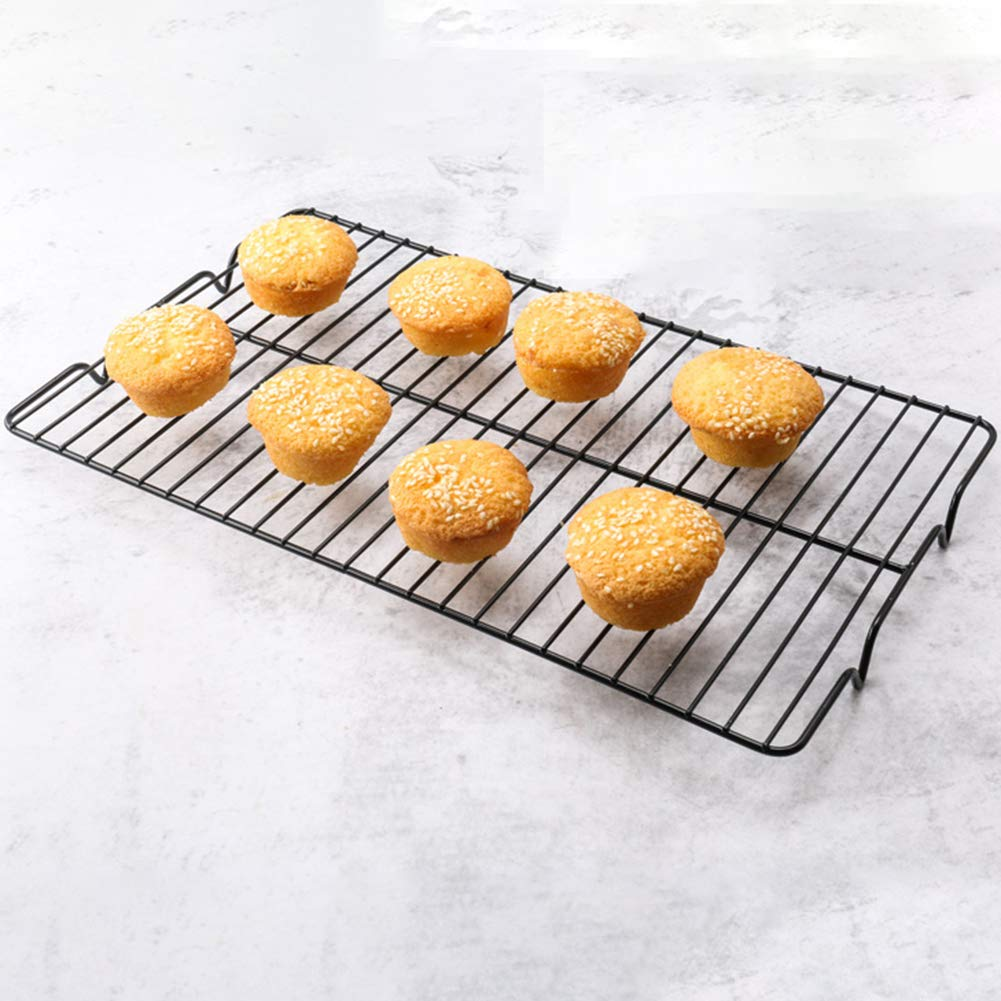 Not-Sticky Baking Tool Black fublousRR5 Baking Cooling Rack High Carbon Steel Cooling Grid Tray Biscuit Cookie Pie Cake Cooler Baking Rack