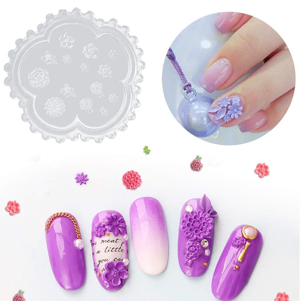 5 Moldes De Silicona Para Decoración De Uñas Diseño De Flores Beauty Amazon Com