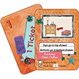 NEATLINGS Chore Cards Self-Care Deck ● 34 Self-Care Chores & 21 Ticket Cards ● Reward & Responsibility ● Orange