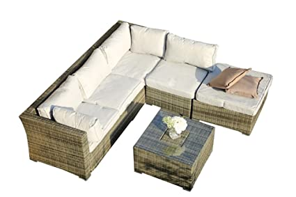 Amazon.com: Direct Wicker L-Shaped 4-Piece Outdoor Patio ...
