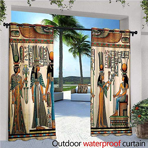 cobeDecor Egyptian Outdoor Blackout Curtains Egyptian Papyrus Depicting Queen Nefertari Making an Offering to Isis Image Print Outdoor Privacy Porch Curtains W84 x L108 Multicolor ()