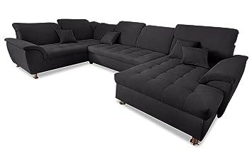 Sofa Couch Wohnlandschaft Franzi Mit Schlaffunktion Schwarz