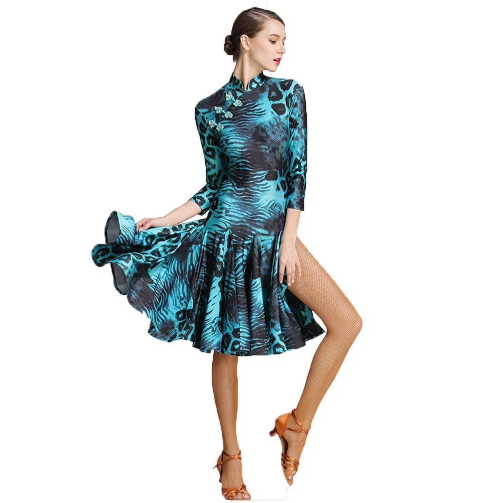 vert XXL Robes de Danse Latine Lisse pour Les Femmes Lyrique Costume De Danse De Tanga Zumba Professionnel Jupe Fendue Collier de Cheongsam Imprimé Léopard de la Mode