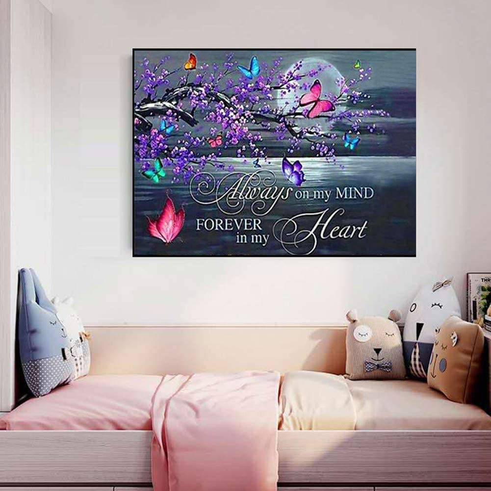 DIY 5D Diamond Painting kit for Adults,Round Full Drill Moon Butterfly Plum Flowers Text Diamond Painting,Crystal Rhinestone Embroidery Diamond Painting,Home Decor Gifts 30x40cm