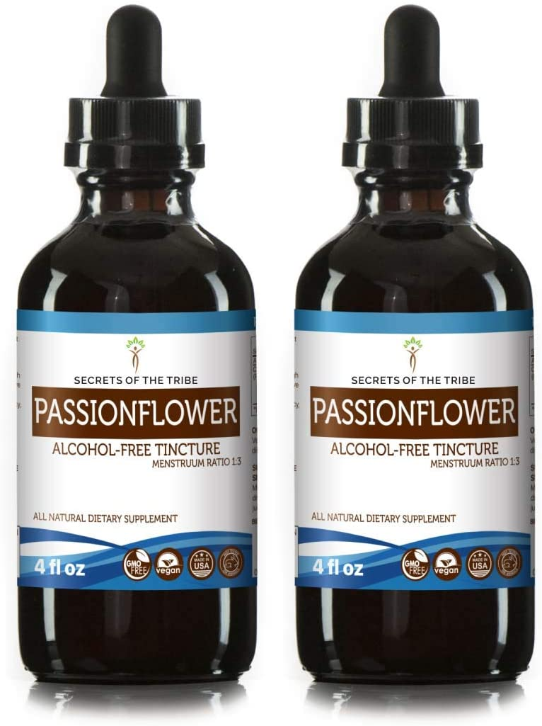 Passionflower Tincture Alcohol-Free Extract, Organic Passionflower Passiflora Incarnata Relaxation 2×4 OZ