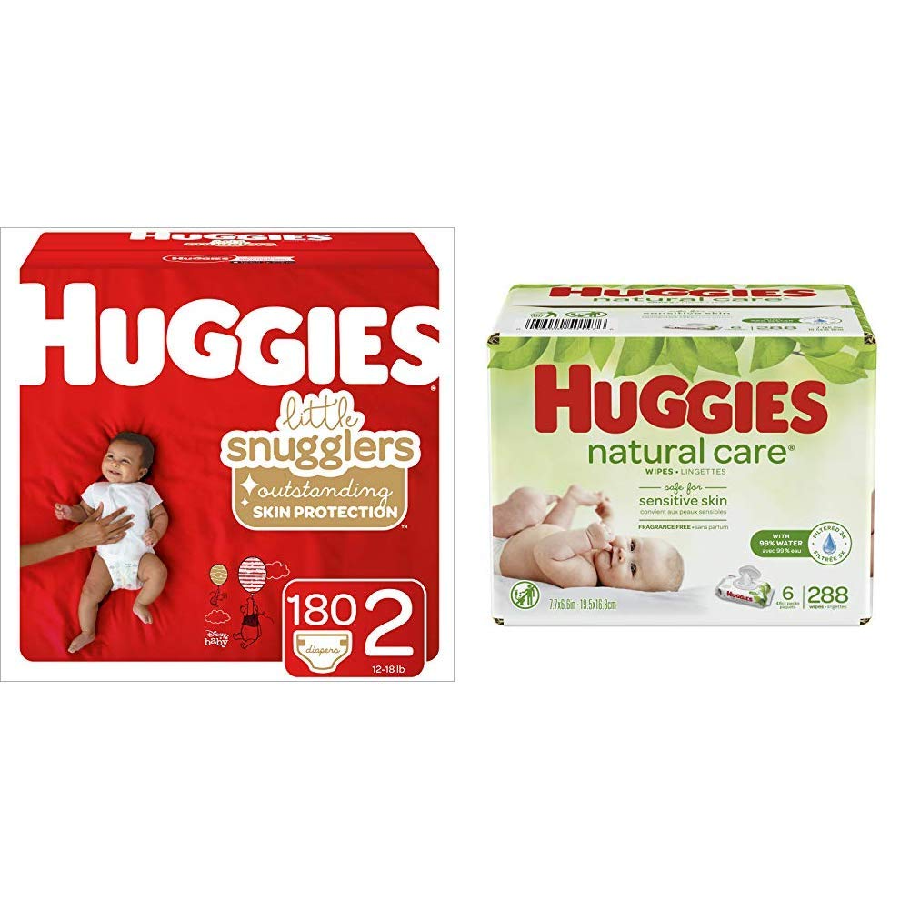 BUNDLE HUGGIES Little Snugglers Diapers, Size 2, 180 Count (Packaging May Vary) & HUGGIES Natural Care Unscented Baby Wipes, Sensitive, 6 Disposable Flip-top Packs (288 Total Wipes)
