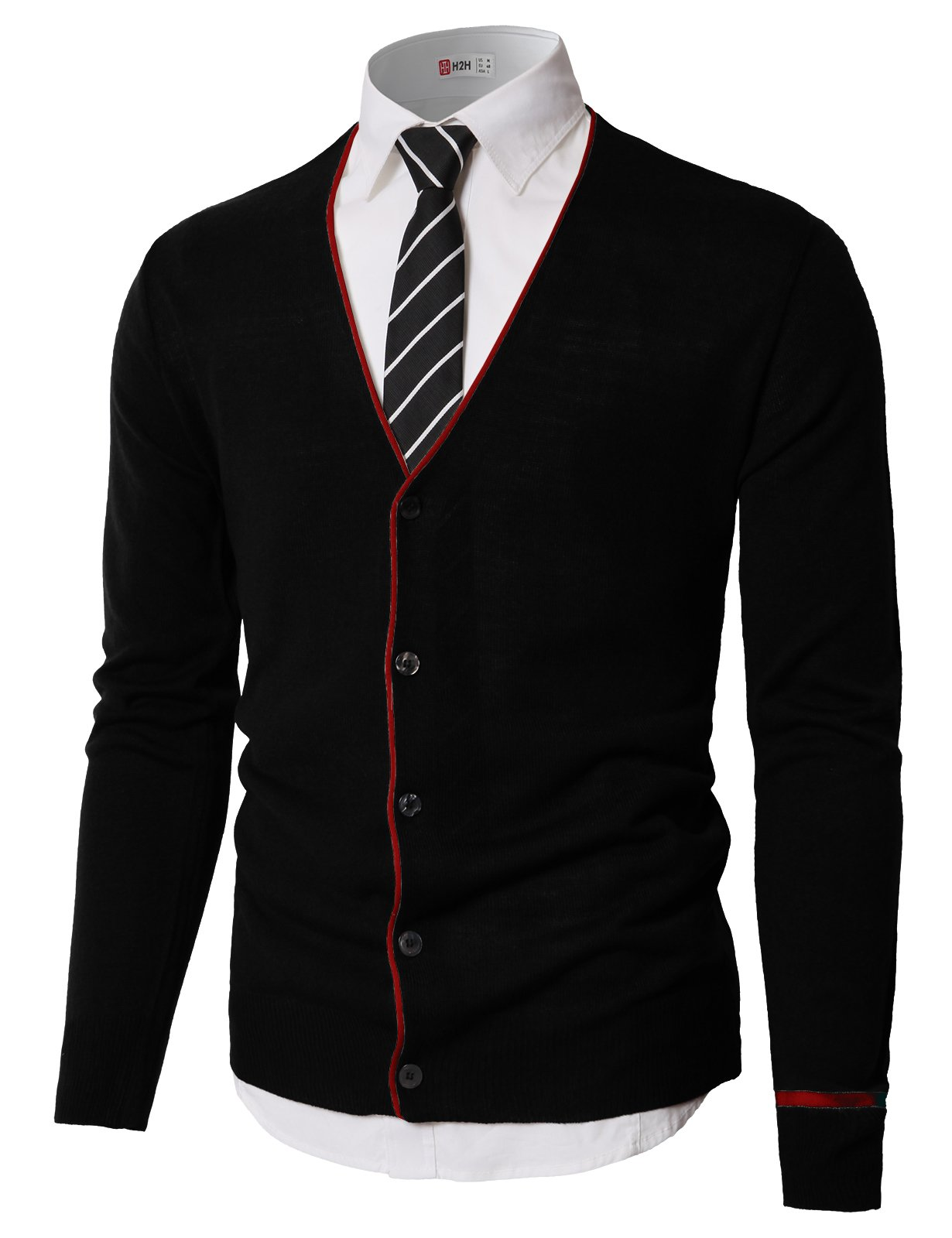 H2H Mens Classic Slim Fit Knit Button-Front Cardigan Long Sleeve Black US XL/Asia 2XL (KMOCAL0185)