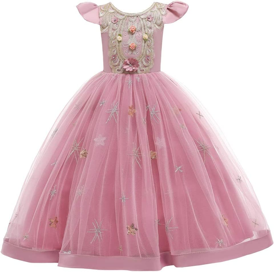 Little Girls Princess Dress, Sequin Tulle Lace Printing Little Flying Sleeve Tutu Long Skirt with Crown, Birthday Party Cosplay Fancy Dress Party Christmas Halloween Costume, Age 2-12 Years