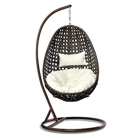 Beau THeCORP Outdoor Rattan Single Egg Chair With Comfortable Head Pillow And  Cushion For Outdoor