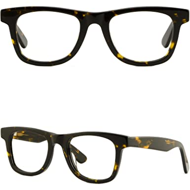 c0196feb60 Image Unavailable. Image not available for. Color  Thick Strong Men Women  Frame Large Acetate Eyeglasses Glasses Spring Hinge Black