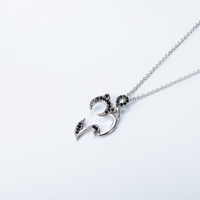 CS-DB Black Crystal Lucky Cat Top Stylish Silver Necklaces Pendants