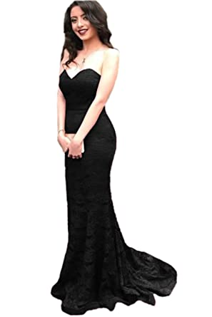 Promworld Womens Sweetheart Mermaid Prom Dress Long Lace Evening Dresses Black US2