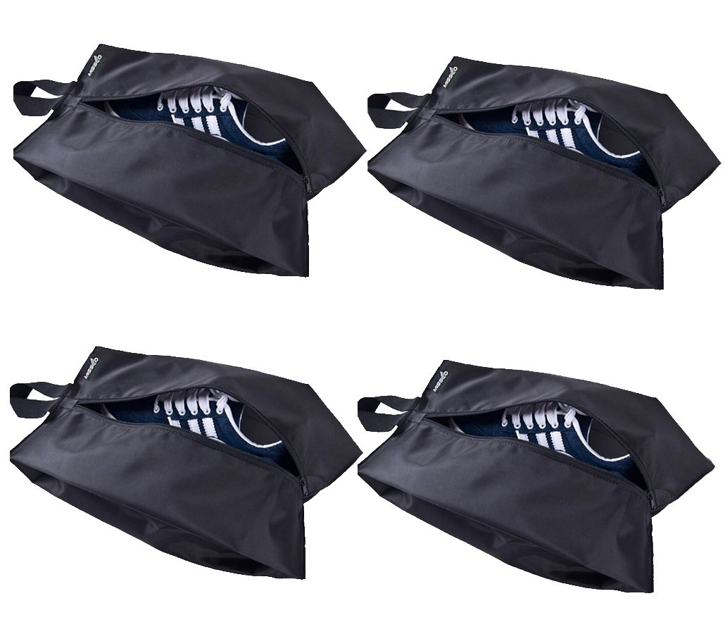 MISSLO Portable Nylon Travel Shoe Bags with Zipper Closure (Pack 4, Black) by MISSLO (Image #2)
