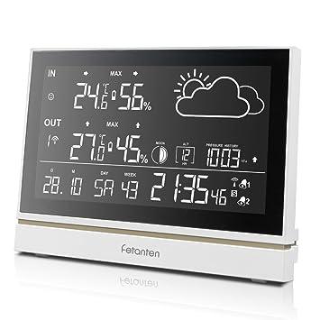 Fetanten Estación Metereológica, Pronóstico del Tiempo con Temperatura Termómetro Humedad Presión, RCC Radio Control Reloj con Sensor Exterior, ...