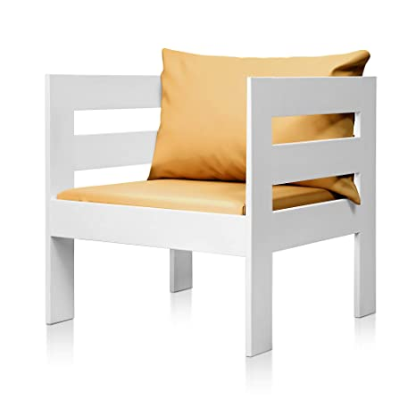 SUENOSZZZ - Sofa Jardin de Madera de Pino Color Blanco, MEDITERRANEO Mod. sillón, Sillon cojín Polipiel Color Mostaza. Muebles Jardin Exterior. Silla ...