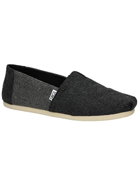 TOMS Hombres Seasonal Classics Black / Forged Grey Herringbone Loafer: Amazon.es: Zapatos y complementos