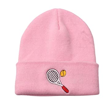 178a876b Amazon.com : Inkach Baby Beanie Hats   Kids Embroidery Winter Keep Warm Cap  - Toddler Boy or Girl Knitted Hat (Pink - Tennis) : Baby