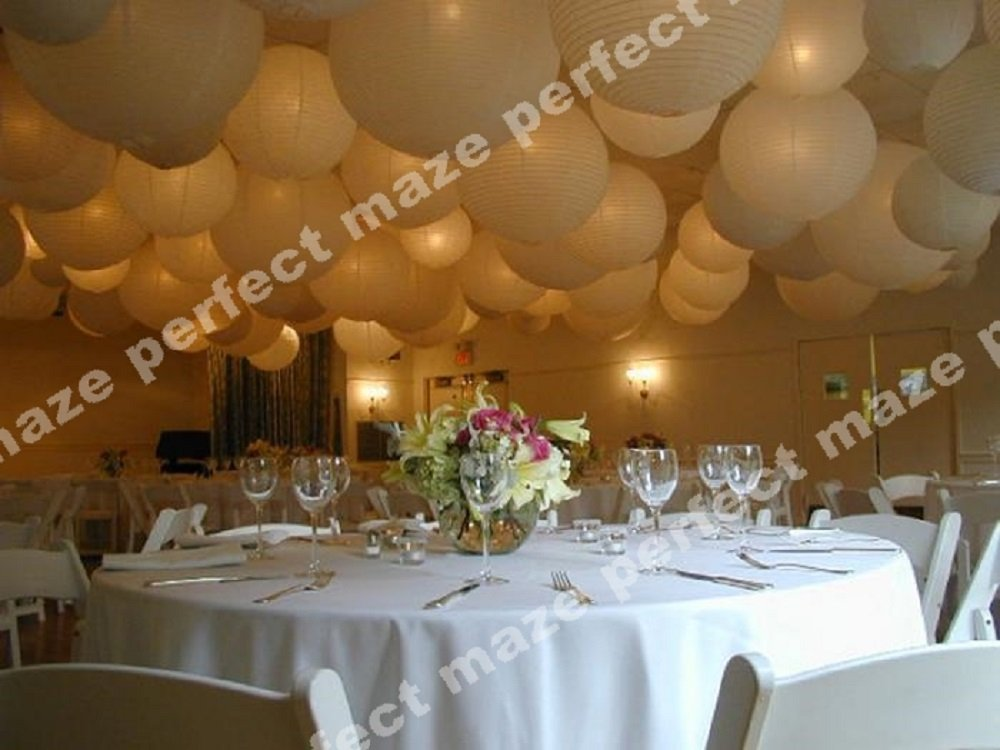 Perfectmaze 12 piece set 12 inch White Round Chinese Paper Lantern with Led for Wedding Party Engagement Decoration by Perfect Maze (Image #5)
