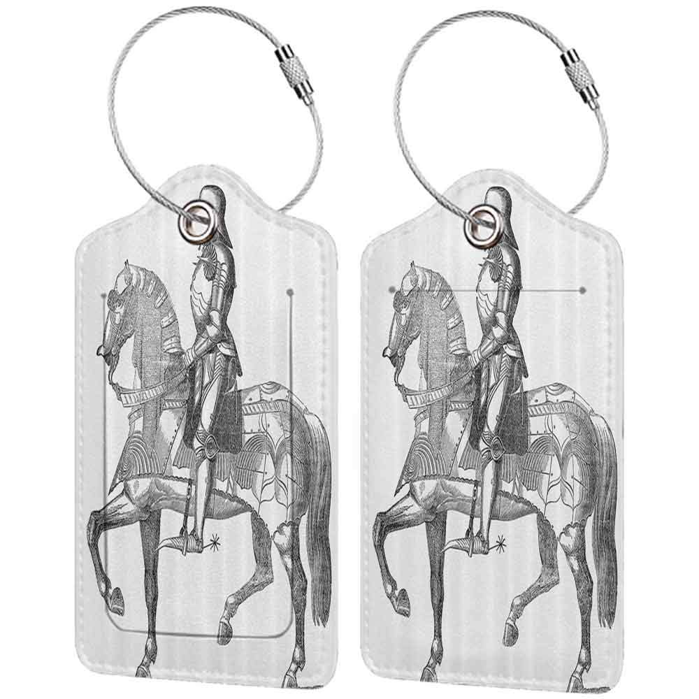 Printed luggage tag Medieval Decor Collection Retro Vintage Stylized Illustration of Middle Age Renaissance Knight on the Horse Protect personal privacy Black White W2.7 x L4.6