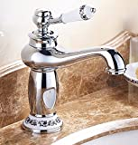 AWXJX European style copper hot and cold bath sink gold Raised height single hole Sink mixer