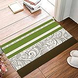 Family Decor Classical Striped Floral Pattern Doormat Entrance Mat Floor Mat Rug Indoor/Outdoor/Front Door/Bathroom Mats Rubber Non Slip Green
